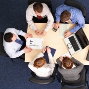 A project management team working
